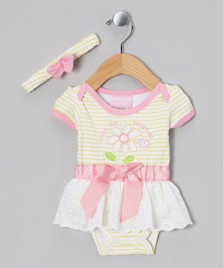 Yellow &amp; Pink Skirted Bodysuit &amp; Headband