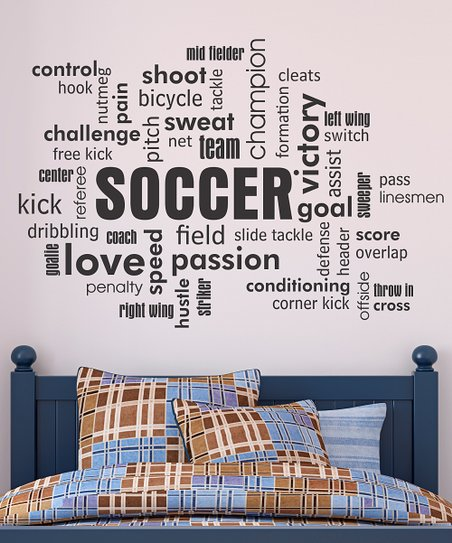 Belvedere Designs Black Soccer Cloud Wall Quote