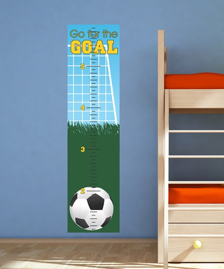 Belvedere Designs Blue 'Go for Goal' Growth Chart Wall Decal