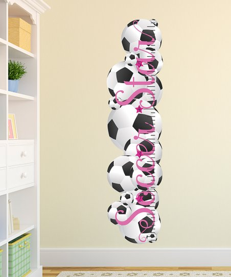 Belvedere Designs Pink Soccer Star Growth Chart Wall Decal