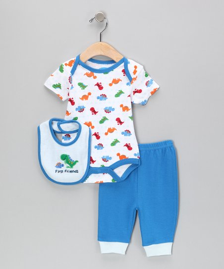 White & Blue 'First Friends' Dino Bodysuit Set