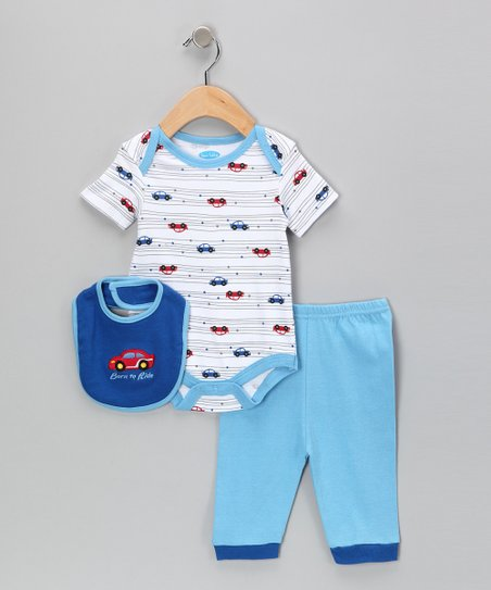 White &amp; Blue &#039;Born to Ride&#039; Bodysuit Set