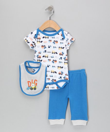 White & Blue 'Dig' Dog Bodysuit Set