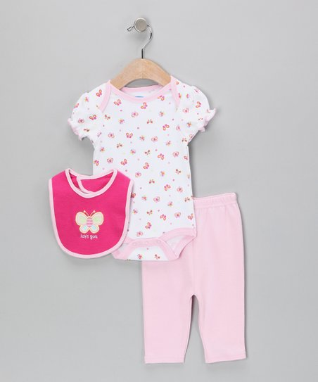 White & Pink 'I Love You' Butterfly Bodysuit Set