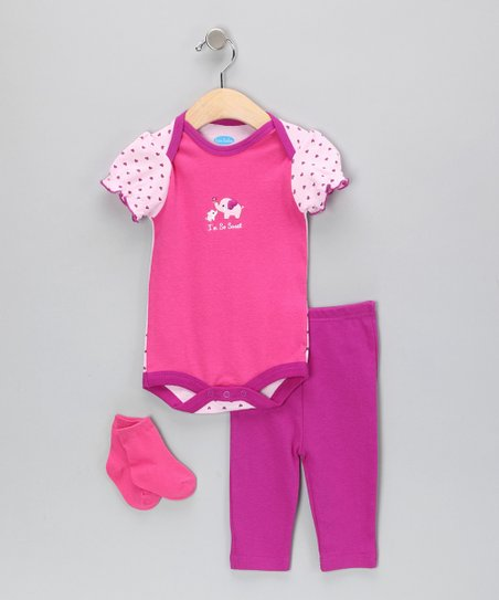 Fuchsia & Purple Elephant Bodysuit Set
