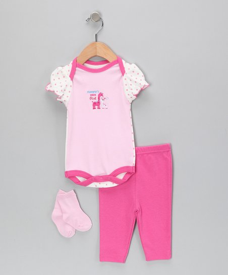 Pink &amp; Fuchsia Giraffe Bodysuit Set