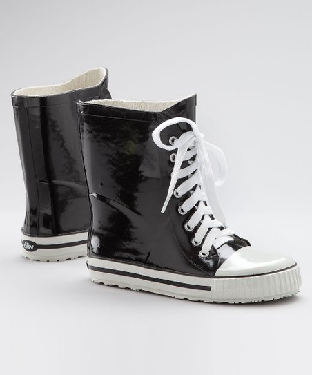 Black Sneaker Rain Boot - Kids