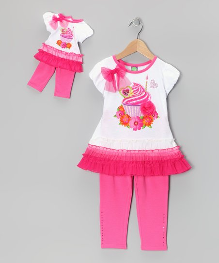 Pink Cupcake Skirted Tunic Set & Doll Outfit - Girls
