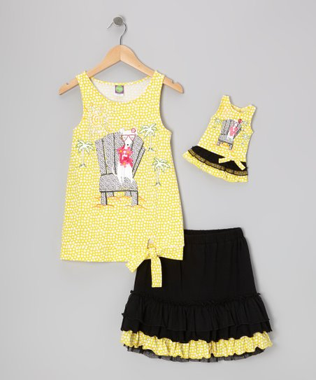 Yellow & Black Skirt Set & Doll Outfit - Girls