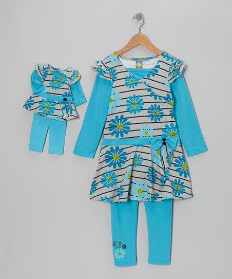 Turquoise Leggings Set & Doll Outfit - Girls