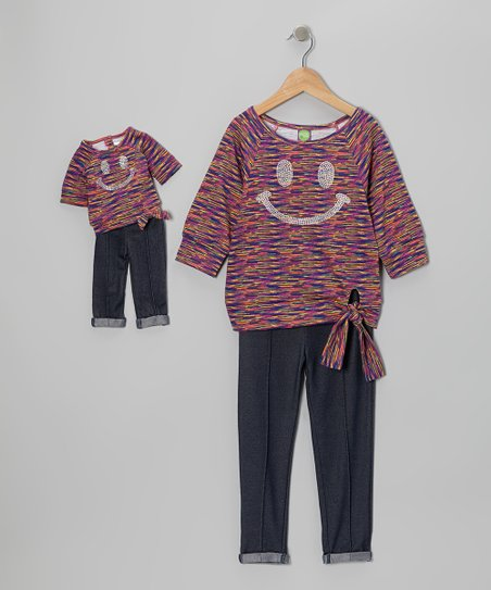 Purple Smiley Tunic Set & Doll Outfit - Girls
