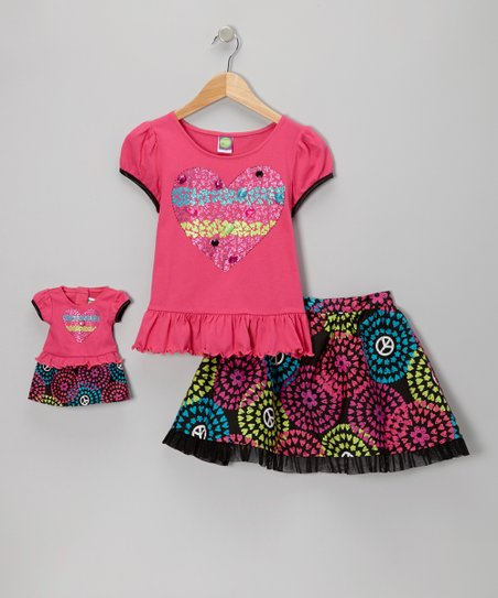 Fuchsia & Black Swirly Skirt Set & Doll Outfit - Girls