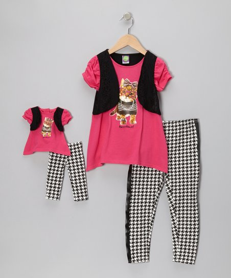 Fuchsia Cat Layered Tunic Set & Doll Outfit - Girls