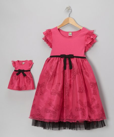 Fuchsia Bow Angel-Sleeve Dress & Doll Outfit - Girls