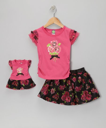 Fuchsia & Black Rose Skirt Set & Doll Outfit - Girls