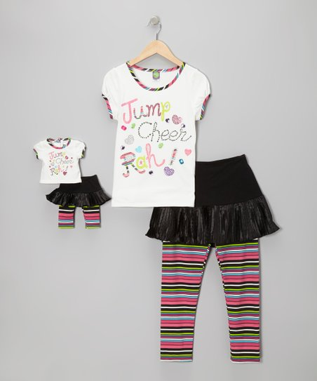 White 'Cheer' Stripe Skirted Leggings Set & Doll Outfit - Girls