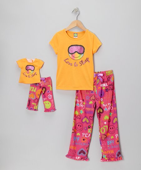 Orange 'Love to Sleep' Pajama Set & Doll Outfit - Girls