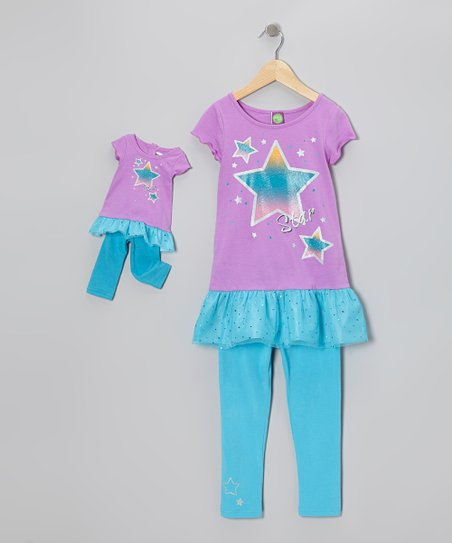 Purple Star Tunic Set & Doll Outfit - Toddler