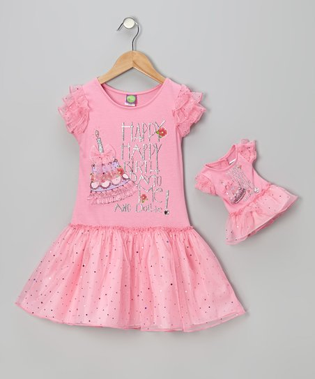 Pink Sparkly Birthday Dress & Doll Outfit - Girls