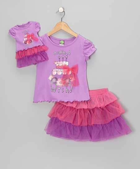 Lilac 'Birthday Wishes' Tee Set & Doll Outfit - Toddler & Girls