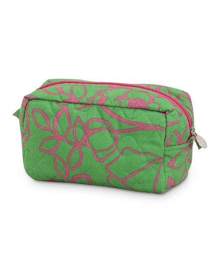 Pink & Green Camelot Quilted Cosmetic Bag