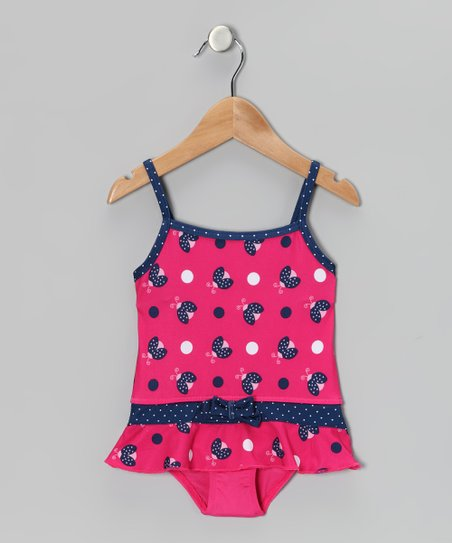 Fuchsia Ladybug Skirted One-Piece - Toddler