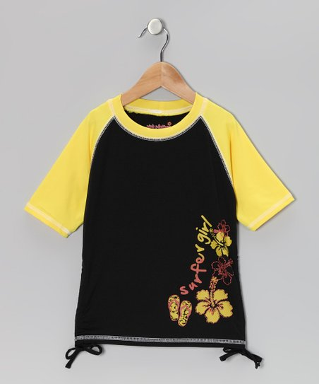 Yellow 'Surfer Girl' Rashguard - Toddler & Girls