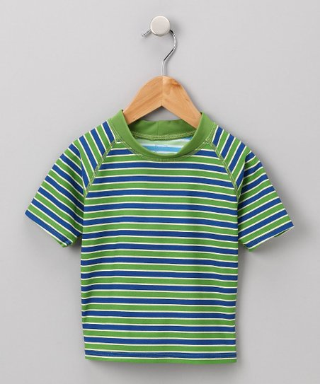 Olive &amp; Navy Stripe Rashguard - Infant