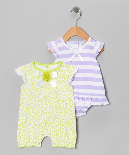 Purple Stripe Bow Skirted Bodysuit & Romper - Infant