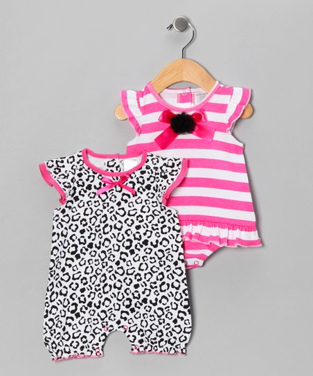 Hot Pink Stripe Bow Skirted Bodysuit & Romper - Infant
