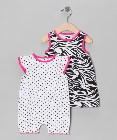 Hot Pink Zebra Dress & Romper - Infant