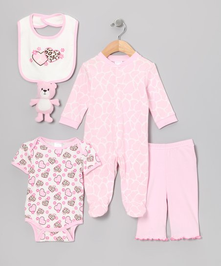Pink Double Heart Five-Piece Layette Set - Infant