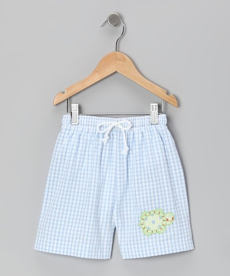 Blue Seersucker Turtle Swim Trunks - Boys