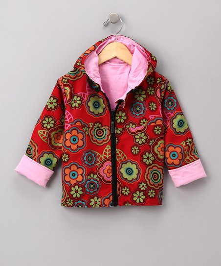 Red Flower Reversible Rainbreaker Jacket