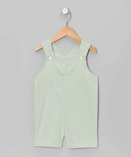 Green Gingham Shortalls - Infant & Toddler