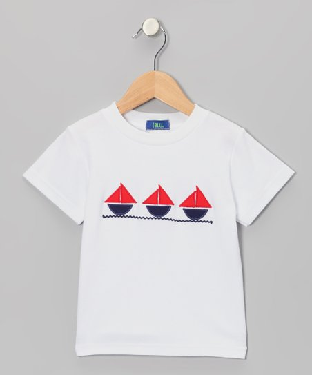 White & Red Sailing Appliqué Tee - Boys