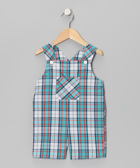 Blue & Aqua Plaid Patch Shortalls - Infant & Toddler