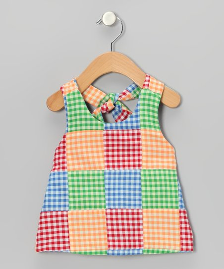 Red & Yellow Gingham Patchwork Halter Top - Toddler & Girls