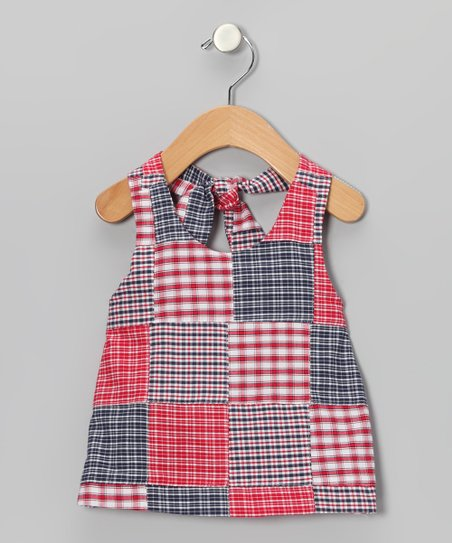 Red & Navy Plaid Patchwork Halter Top - Toddler & Girls