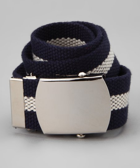 Navy & Natural Stripe Buckled Belt