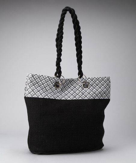Black & White Abstract Floral Tote