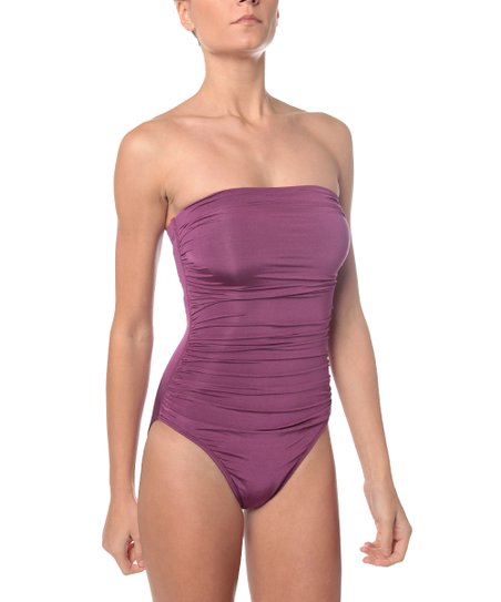 Plum Shirred Bandeau One-Piece
