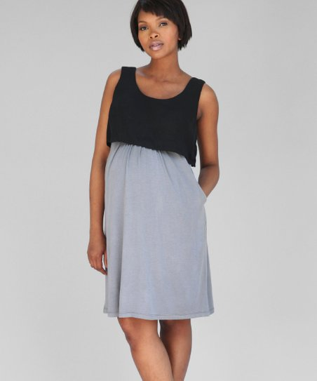 Charcoal Maternity & Nursing Layered Dress