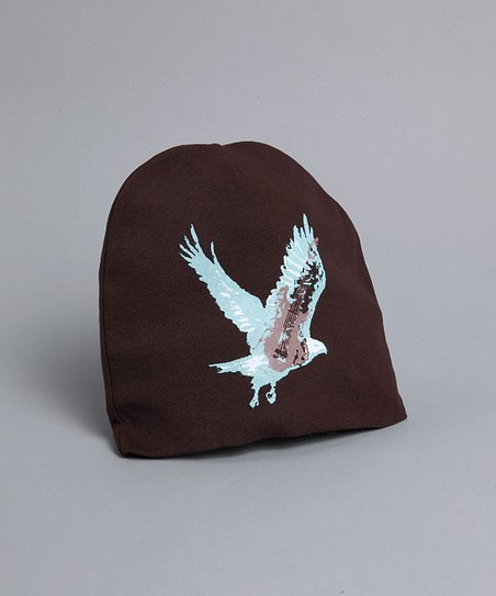 Brown & Blue Eagle Beanie
