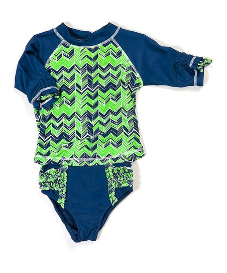 Blue & Green Anchors Away Rashguard Set - Infant, Toddler & Girls