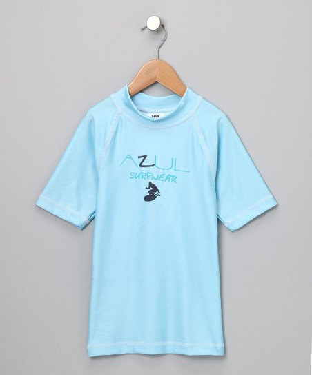 Light Blue Short-Sleeve Rashguard - Infant, Toddler & Kids