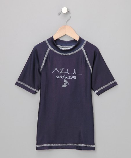 Navy Short-Sleeve Rashguard - Kids