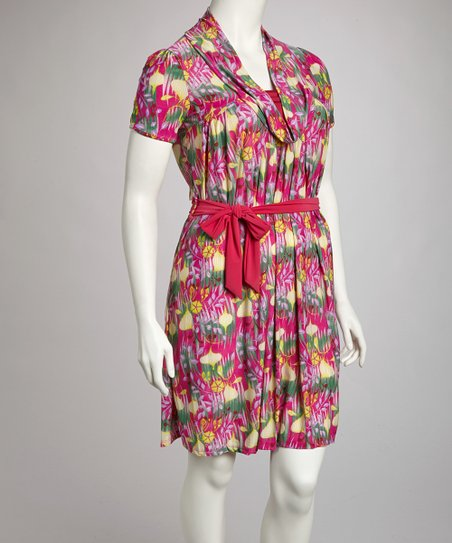 Pink Floral Belted Dress - Plus