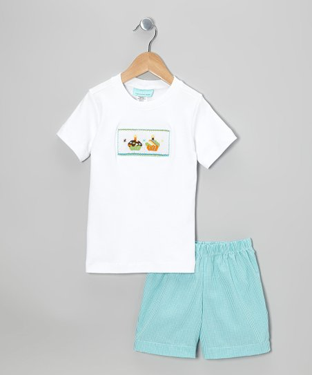White Cupcake Tee & Teal Shorts - Infant & Toddler