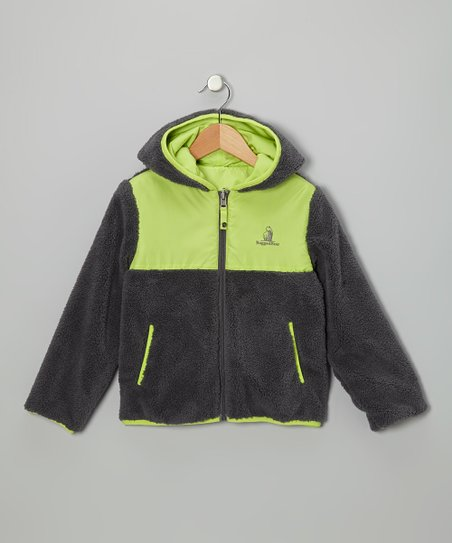 Charcoal & Lime Reversible Sherpa Coat - Infant